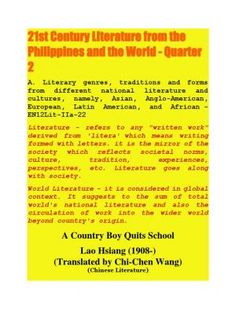 DLL Century Lit from the Philippines and the World 21st Century Literature, World Literature, Literary Genre, Fathers Say, Country Boys, First Day Of School, News Stories, Drinking Tea, Sentences