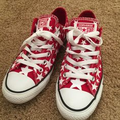 Stars Red Converse W8 HTF Awesome condition. Size 8 women/ 6 menu0027s. Comes with box Flag patriotic USA stars cons Converse Shoes Sneakers & Georgeous all star converse custom made | High top converse ...