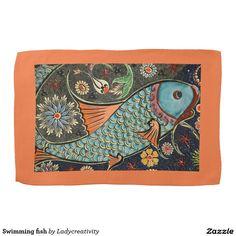 Swimming fish hand towel