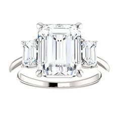 Engagement Ring Emerald Cut 4.8CT
