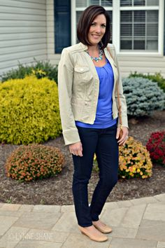 Fall Outfit Idea: fitted khaki jacket, cornflower blue top and dark jeans with nude pumps and a statement necklace for some bling. Find FIVE MORE wearable outfits for moms in this Fashion Over 40 post by Jo-Lynne Shane: http://www.jolynneshane.com/fashion-over-40-whatiwore-11-05-14.html