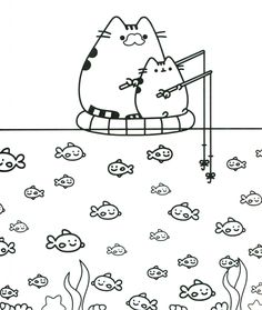Pusheen Cat Coloring Pages Page Cartoon