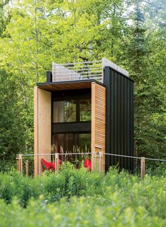 "Think of: Camping ""Off the Grid""... Now check out THIS Cabin in the Woods... #TeamDaniels #ColdwellBanker   Facade of self-sustaining Wisconsin cabin by Revelations Architects/Builders."