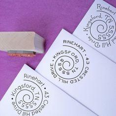 Swirly Spiral Customized Address Stamp by purplelemondesigns, $29.00