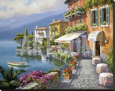 Seaside Bistro Café Stretched Canvas Print by Sung Kim at Art.com