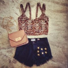 Cropped top & high waisted shorts