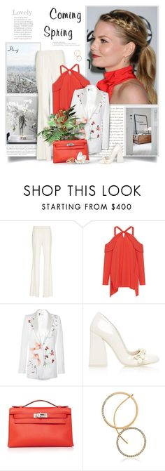 """Coming Spring"" by thewondersoffashion ❤ liked on Polyvore featuring Capelli New York, Goen.J, TIBI, Lanvin, Hermès, KIM MEE HYE and Maria Francesca Pepe"