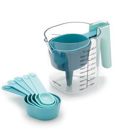 Southern Living Measuring Set with Funnel Turquoise Kitchen Decor, Teal Kitchen, Kitchen And Bath, Pastel Kitchen, Kitchen Stuff, Cooking Gadgets, Kitchen Gadgets, Kitchen Utensils, Kitchen Tools