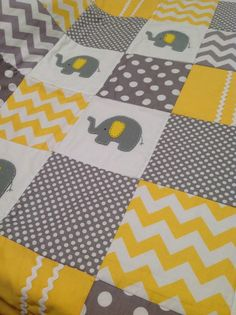 @Quiana Wright Wright V. Keith this would be perfect for you! Elephant Baby Quilt in Yellow and Grey