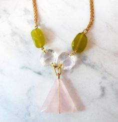 #quartz, #triangle, #pink, #handmade, #necklace, #poetes, #barcelona