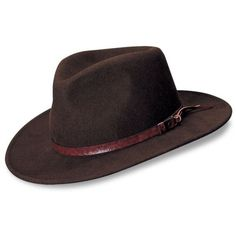 Indiana Jones  Brown Outback Hat ($70) ❤ liked on Polyvore featuring men's fashion, men's accessories, men's hats, brown and mens wool hats