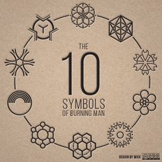 Illustrated geometric icons inspired by The Ten Principles of Burning Man.