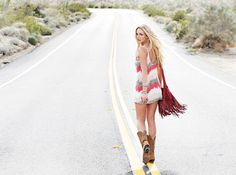 ombre' T sun dress and cowboy boots