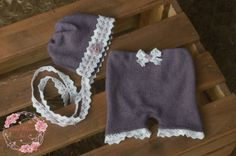RTS upcycled newborn size vintage purple/mauve bonnet and shorts set,white lace and lilac flower details,OOAK photo prop pants,outfit,romper