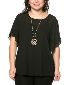 This Black Cape-Sleeve Top & Necklace - Plus by Essential Collection is perfect! #zulilyfinds