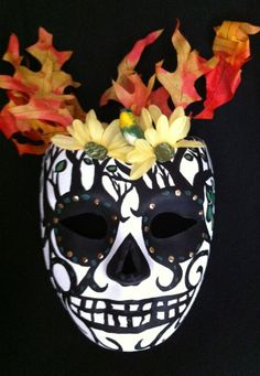 Day of the Dead, Halloween, Sugar Skull Mask on Etsy, $60.00