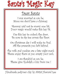 Magic santa key templates for crafts Christmas Poems, Christmas Projects, Christmas Holidays, Christmas Riddles, Reindeer Food Poem, Magic Reindeer Food, Magic Santa, Santa Key, Handcrafted Christmas Ornaments
