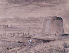 Représentation non datée de la tour Martello no 4. On peut situer sa production dans la première moitié du XIXe siècle. On y voit la tour en usage, avant le retrait des pièces d'artillerie et de l'ajout d'un toit dans les années 1820.