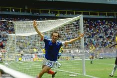 French Captain Michel Platini celebrates a goal during the World Cup quarterfinal against Brazil at the Jalisco Stadium in Guadalajara Mexico France...