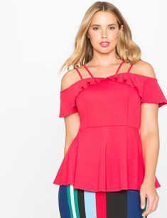 a2caefa52e4e View our Off the Shoulder Ruffle Peplum Knit Top and shop our selection of  designer women s plus size Tops