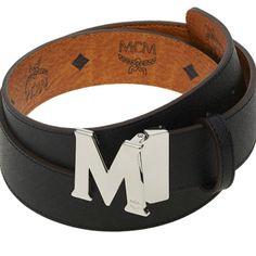 e0c9912d3cd9 Authentic MCM Visetos Round Reversible Belt MYB3AVI38BK Reversible Belt