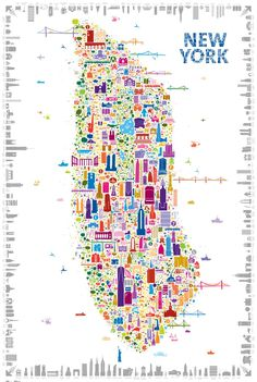 A Gloriously Drawn, Insider's Map of New York Iconic New York crams more than 400 local landmarks into one poster, including the Naked Cowboy and a vicious raccoon.