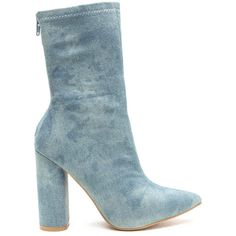 All Cylinders Pointy Denim Booties (67 BGN) ❤ liked on Polyvore featuring shoes, boots, ankle booties, ankle boots, blue, pointy-toe ankle boots, blue booties, pointy booties, chunky heel booties and pointed-toe ankle boots
