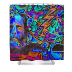 Shower Curtains - Brent Mydland Roses are Blue Shower Curtain by Kevin J Cooper Artwork