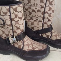 "COACH Sharron Signature Snow Boots-NWOT & Box Khaki signature Jacquard, chocolate leather trim, Vibram rubber sole, Velcro closure. 10"" high. New without tags or box. Coach Shoes Winter & Rain Boots"
