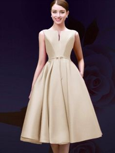 Shop Beige Plunge Neck Bowknot Waist Lacing Back Midi Prom Dress from choies.com .Free shipping Worldwide.$67.99