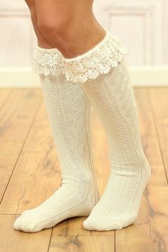 Ivory Thick Lace Boot Socks