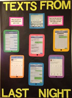 A bulletin board I did right before Spring Break. I went onto websites like Texts from Last Night and found the funniest or the most embarrassing ones and then printed them out and glued them to construction paper that I cut into the shape of an iPhone. The point was to warn residents about posting things on social media during the break.
