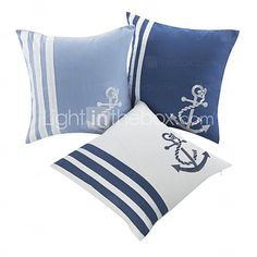 Set of 3 Nautical Embroidered Polyester Decorative Pillow Cover
