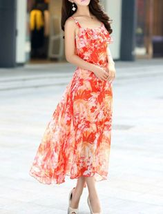 Spaghetti Strap Flounce Floral Chiffon Maxi Dress You want this spaghetti strap flounce floral chiffon maxi dress for only $28.95 its Size:S,M,L #berrylook #berrylookflouncedress #fashiondress #summerflouncedress #dress #floraldress