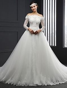 Ball+Gown+Wedding+Dress+Chapel+Train+Strapless+Tulle+with+Appliques+–+USD+$+750.00