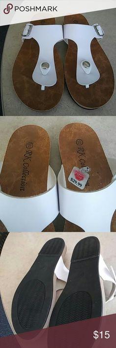 White sandals Cute sandals RK COLLECTION Shoes Sandals