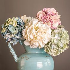 High Simulation Artificial Silk Fake Hydrangea Flower Bouquet for Home Hotel Wedding Party Garden Floral Decor