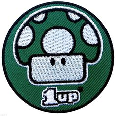 """[Single Count] Custom, Cool & Awesome {2.5"""" Inch Wide} Small Round Classic Video Game Mario One Up Spotted Mushroom (Gaming Type) Velcro Patch """"Green, Black & White"""" mySimple Products"""