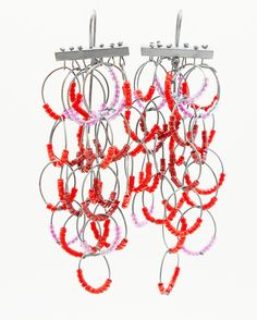 coral and glass beads on oxidized silver by American artist Karen Gilbert