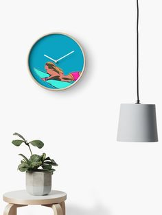 """Surfer Girl - Duck Dive"" Clock by artisticsurf   Redbubble Surfer Room, Beach Wall Art, Quartz Clock Mechanism, Modern Prints, Hand Coloring, Girl Room, Art Boards, Kids Bedroom, Coastal"