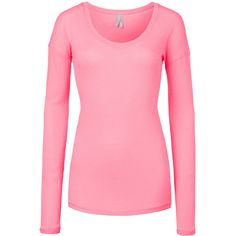 LE3NO Womens Basic Fitted Long Sleeve Scoop Neck Knit Sweater Shirt ($11) ❤ liked on Polyvore featuring tops, sweaters, fitted sweater, long pink sweater, long sleeve knit shirts, long sweaters and knit shirt