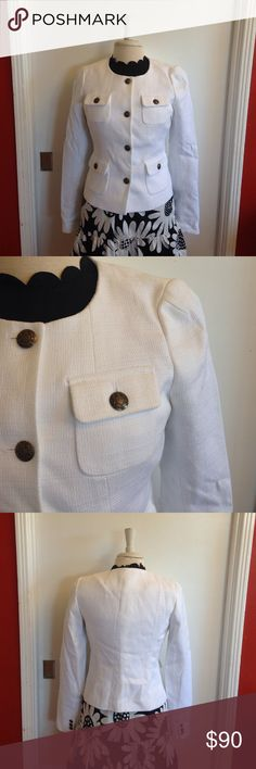 """Banana Republic White Jacket Banana Republic white jacket. Size 6. New with tags. Metal buttons, 4 front pockets, lined. Material: 100% cotton. Measurements: shoulders: 15"""", bust: 17"""", length: 21"""", sleeve length: 24"""". Banana Republic Jackets & Coats"""