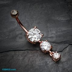 Rose Gold Gem Cascade Belly Button Ring