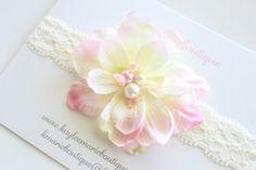 Pink & Yellow Silk Flower Headband  Lace by kayleemarieboutique,