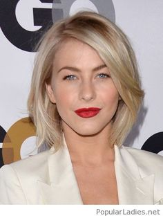 Short blonde hair and red lips