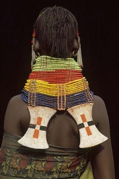 Africa   Details from the back of a Turkana woman's beaded neck piece.  Kenya.