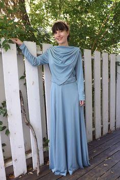 70s Blue Mod Draped Dress Space Age Maxi Vintage Long Sleeve S M