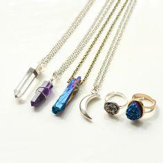Create a boho look this season some amethyst quartz crystal necklaces and druzy rings > www.vintagefashionjewellery.com