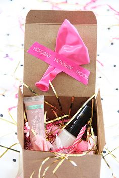 Happy Birthday in a Box! Because everyone should get confetti and Champagne on their special day.