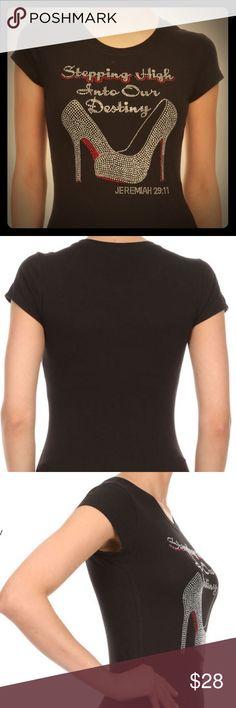 CRYSTAL BLING T SHIRT RHINESTONE T SHIRT Tops Tees - Short Sleeve